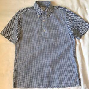 Brooks Brothers blue seersucker pop on shirt